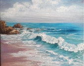 "Oil Painting Beach Ocean Waves Rocks Seascape Impasto 12"" x 12"" READY to SHIP"