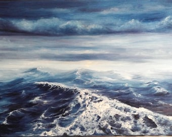 "Oil Painting Stormy Sea Seascape Ocean, Sky Original 12"" x 24"" READY to SHIP"