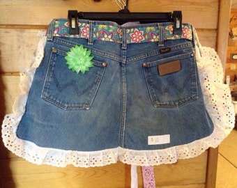 Denim Jean Apron with flowered ribbon tie