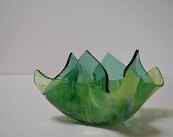 Green Swirls Glass Candle Holder, Bath Salts Holder, Candy Dish, Potpourri Holder, Votive Vase