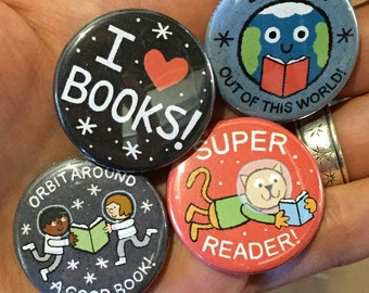Take Me To Your Reader Buttons - SET THREE