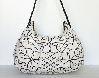 Pleated Bag // Shoulder Purse - Calligraphy Swirl Ink
