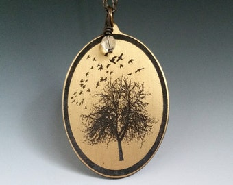 Birds in flight, put a bird on it, birds and trees, bird pendant, bird jewelry, bird silouette, tree silouette,  bird necklace, bird art