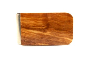Handmade Money Clip Olive Wood