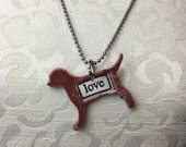 Puppy Love Stamped Ceramic Necklace
