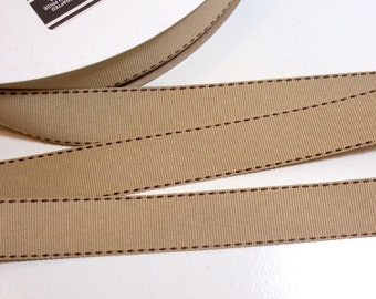 Beige Ribbon, Offray Side Saddle Stitch Grosgrain Ribbon 7/8 inch wide x 10 yards, Oat and Brown