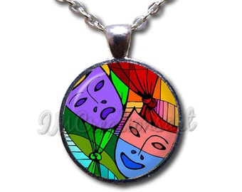 Theater Mask Tragedy Comedy - Round Glass Dome Pendant or with Necklace by IMCreations -   PR100