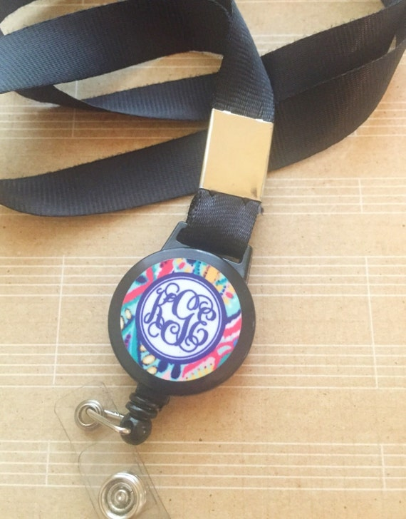 monogrammed id badge lanyard personalized by sweetgrassprints