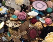 Destash Mix Vintage Inspired Jewelry Supplies Beads Brass Charms Cameos Resin Flowers