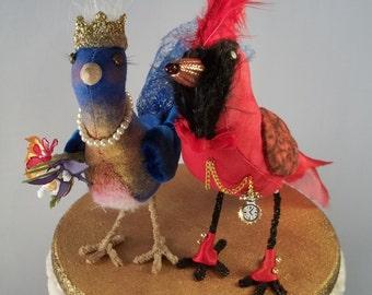 Wedding Cake Topper Portrait Ferdi Birds -- custom miniature love birds Cardinal and Bluebird on gold stand