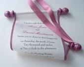 Rustic wedding invitation, fabric scroll invitation, mauve rose wedding, cream linen fabric scroll, elegant wedding, traditional wedding