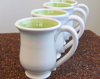 Pottery Coffee Mugs - Set of 4 Stoneware Pottery Cups in Lime Green