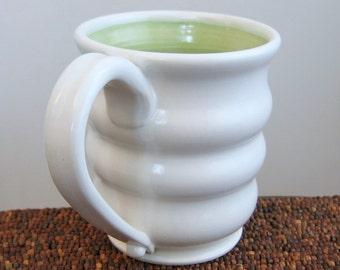 Large Coffee Mug in Pear Green 20 oz.  Stoneware Pottery Beehive Coffee Cup