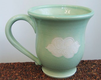 Large Pottery Coffee Mug with Fluffy Clouds 18 oz. Cloud Mug - Stoneware Ceramic Cup in Mint Green