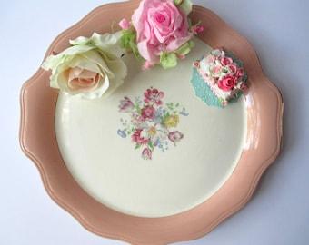 Vintage Serving Platter French Saxon Peach Floral Handled