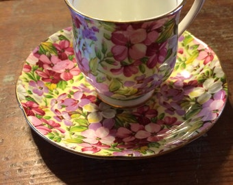 "Floral Chintz Demitasse Cup and Saucer ""Virginia Stock"""