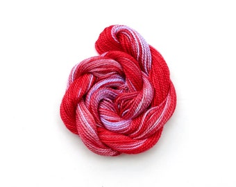 Hand dyed cotton perle 8 embroidery thread, bright red, strawberry, lavender, mauve, fine crochet yarn, space dyed tatting thread