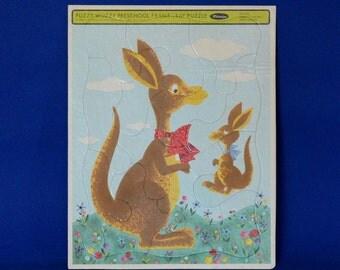 Whitman Fuzzy Wuzzy Preschool Frame Puzzle No. 4422 featuring Kangaroo and Joey