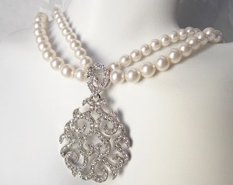 Double Strand Bridal Necklace with Swarovski Rhinestones and Swarovski Pearls for Art Deco Vintage 1920s Wedding Jewelry