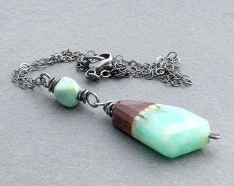 Bio Chrysoprase Necklace, Pendant Necklace, Turquoise Green Gemstone Necklace, Chrysoprase Gemstone, Wire Wrapped Pendant, Rustic, #4491