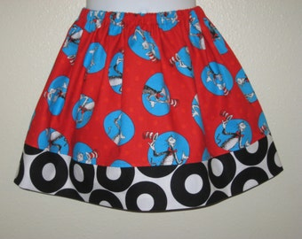 The Cat in the Hat on Red Girls Skirt, 12M to 8Y