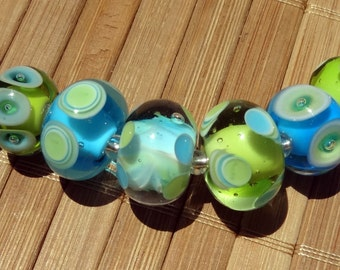 Lime Green and Turquoise Mixed Bead Set----Handmade LAMPWORK Beads