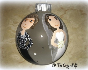 Mother of the Bride or Groom Christmas Ornament Decor Hand Painted Gift Painting Original Art Personalized Wedding Marriage - Mom, Mama