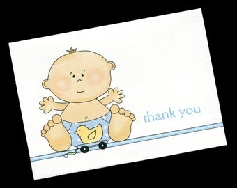 Baby Shower Thank You Cards - Baby Boy - Baby Boy With Ducky Toy - Baby Boy Thank You Cards - Blank Cards - Note Cards - Set of 20