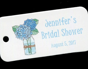 Personalized Bridal Shower Tag - Personalized Tag - Favor Tag - Gift Tag - Personalized Favor Tag - Thank You Tag - Blue - Hydrangeas in Jar