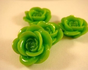 BOGO - 8 Green Cabochon Rose Resin 18mm - No Holes - 8 pc - CA2007-G8 - Buy 1, Get 1 Free - No coupon required