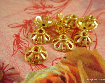 10 Gold Bead Cap Flower w Cutouts 11x4mm fits 10-12mm Bead Plated Copper - 10 pc - 6014-11