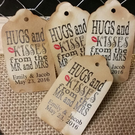 SMALL Personalized Hugs and Kisses from the Mr and Mrs Favor Tags CHOOSE your Quantity
