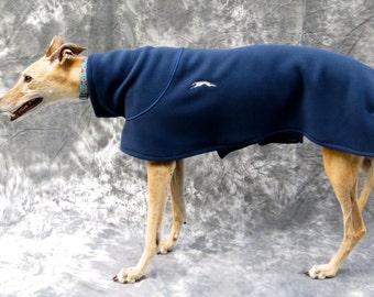 GreyhoundHappy's Greyhound Fleece Jacket in Navy for a Female Greyhound, Size Medium