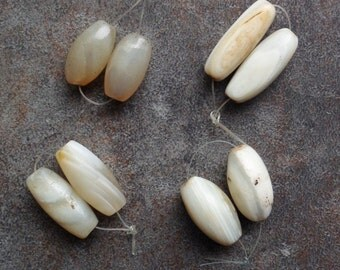 One Pair of Old White Agate Beads from the African Trade