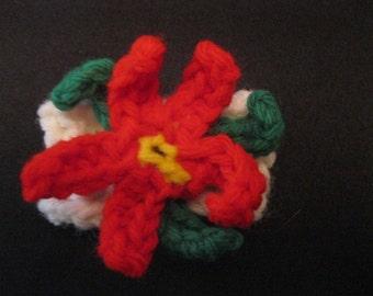 Set of 2 Vintage Yarn Poinsettia Flower Napkin Rings Christmas Present Gift Hostess Teacher Stocking Stuffer