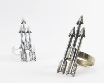 Arrow Triplet Ring in Sterling Silver or Brass