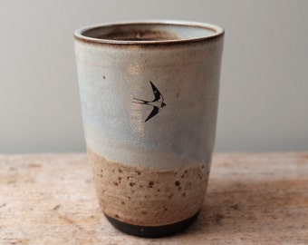 Tall Rustic Cup with Swooping Swallows