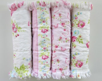 Burp Cloth Set, Girl Burp Cloths, Rag Quilt Burpies, Flannel Burping Pads, Pink Baby Bedding
