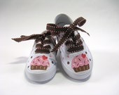 Girls Cupcake Shoes, Kid's Hand Painted White Sneakers, Birthday Party Shoes for Baby and Toddlers