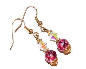 Crystal with Ruby Red Bead Gold Dangle Earrings