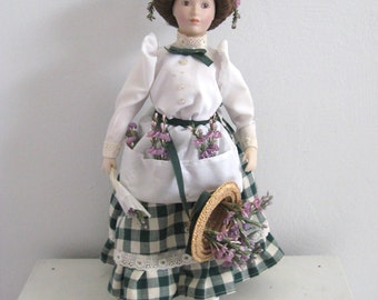 Franklin Heirloom Doll . bisque doll . collectors doll . lavender girl doll  . lavender girl . Kate Lloyd-Jones