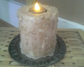 Primitive Country Flameless Candle & Tin - Grubby candle Rustic Home decoration metal ABC pan