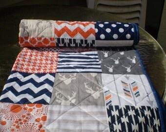 Woodland Baby quilt,Navy blue,grey,orange,baby boy bedding,baby girl quilt,rustic baby quilt,deer,stag,organic,arrows,chevron,Orange Crush