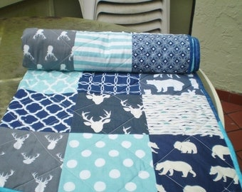 Rustic Baby quilt-baby girl quilt, baby boy bedding,woodland quilt,toddler,grey,navy,teal,aqua,deer,stag,bear,arrow,chevron,Out of the Woods
