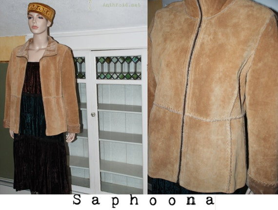 vintage 80s boho Guess suede coat jacket leather tan brown faux shearling sherpa rawhide lacing hippie festival INCLUDES US SHIPPING