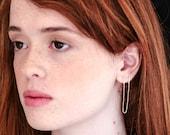 Chain Post Earrings for Double Pierced Ears, Minimalist Gold Earrings, Long Stud Earrings