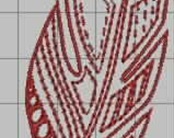 Feather Leaf Digitized Embroidery Design