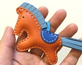 Small size - Beon the cowhide horse charm ( Orange with baby blue mane/tail )