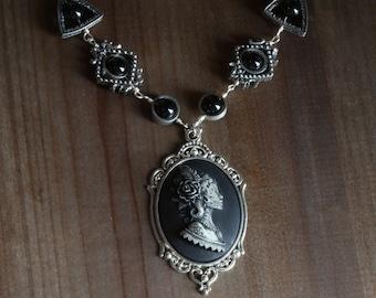 Jewelry - Cameo Necklace - Lady Dia de los Muertos