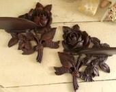 Curvy Vintage Syroco Carved Rose Shelf Pair Excellent Set of 2